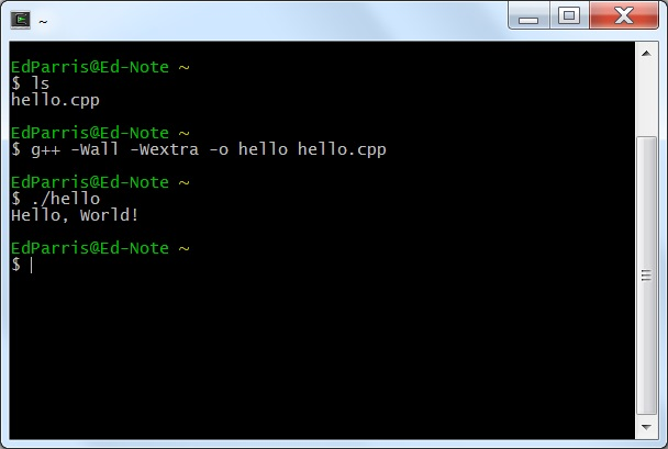 Cygwin saying hello